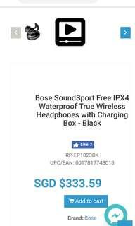 Bose SoundSport Free IPX4 Waterproof True Wireless Headphones