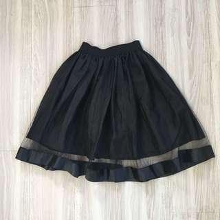 🚚 全新❤️質感寬版腰封感鬆緊雙層網紗即膝澎澎裙
