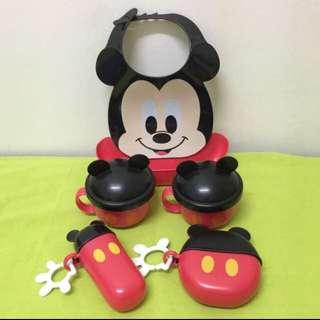 Mickey mouse container and bib