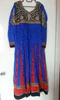 Long Punjabi suit (Red+Blue)