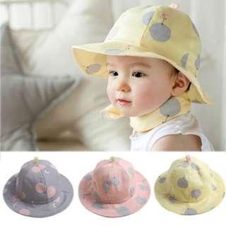🚚 ✔️STOCK - YELLOW POLKA KOREAN UNISEX BABY BOY/GIRL ROUND SUN PROTECTION SUMMER HAT CHILDREN KIDS HEAD HAIR ACCESSORIES