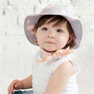 🚚 ✔️STOCK - POLKA PURPLE LAVENDER KOREAN BABY GIRL ROUND SUN PROTECTION SUMMER HAT CHILDREN KIDS HEAD HAIR ACCESSORIES
