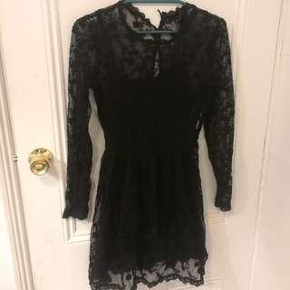 Sheer black lace dress