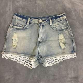 Laced Denim Shorts