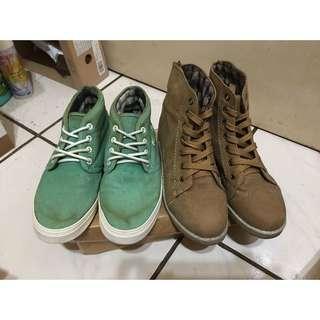 [出售]二手商品 2.5折出清 中筒帆布鞋&褐色高筒靴 2雙$500(下標前請先詳細閱讀商品敘述及說明)