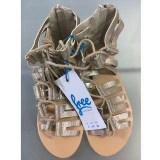 #3x100 Cotton On Lace-Up Gold Sandals Size UK3 US4-5 EU35