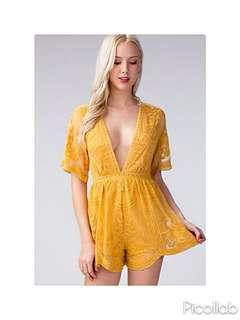 [PO] Mustard Yellow Mesh Lace & Embroidered Romper