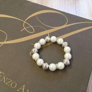 🚚 全新🇺🇸白玉珍珠銀飾手環