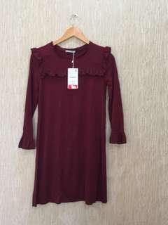 Zara maroon dress new with tag