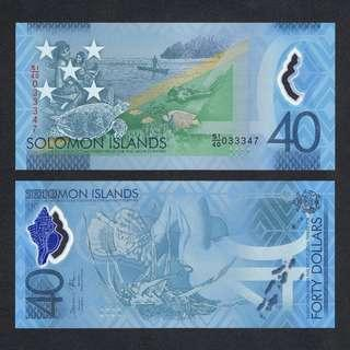 2018 SOLOMON ISLANDS 40 DOLLARS POLYMER P-NEW UNC *COMMEMORATIVE*