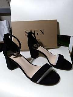 一字粗跟涼鞋 高跟鞋 黑色 6.5cm 25號 淘寶芙號