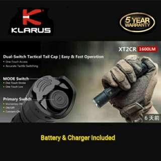 (Free Delivery_1,600 Lumens) Klarus XT2CR Compact Tactical LED Flashlight - USB Rechargeable & Dual Swithes
