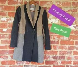 Country Road × Wool Coat 6 AMAZING Spring Colours Italian Fabric Grey/Navy/Cream