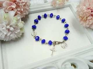 13 Beaded Handcrafted Rosary bracelet   Blue-violet Rondelle crystal beads🌺  Handcrafted rosary are  perfect for gifts and souvenirs for birthdays,  weddings,  christening,  christmas and anniversaries 🎁🎈🎄.  P150