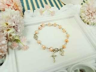 13 Beaded Handcrafted Rosary bracelet  🌼 Pastel Rondelle crystal beads🌺  Handcrafted rosary are  perfect for gifts and souvenirs for birthdays,  weddings,  christening,  christmas and anniversaries 🎁🎈🎄.  P150