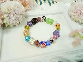 Assorted Murano glass, floral ceramic and crystal beads bracelet charm. 🌼 🌸No Duplicate. One pc per design only.  Handmade with  ❤  P199