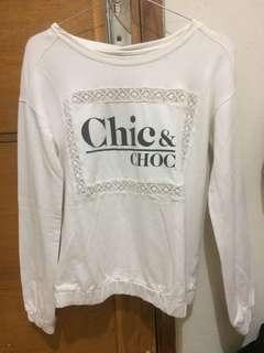 Bershka white slogan sweater