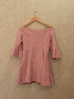 Dusty pink suede dress
