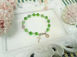 13 Beaded Handcrafted Rosary Bracelet  Green Round Crystal Beads  🌼  Handcrafted rosary are  perfect for gifts and souvenirs for birthdays,  weddings,  christening,  christmas and anniversaries 🎁🎈🎄.  P150