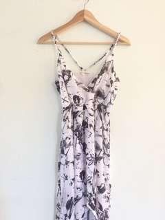 Black Whte Floral Maxi Half Dress Maxi