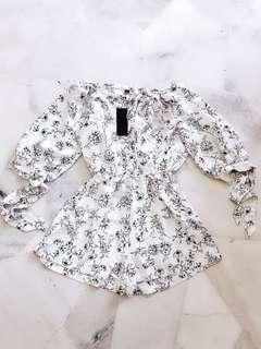 White Floral Off Shoulder Romper / Jumpsuit #Midsep50