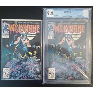 """Wolverine #1 & #1 CGC 9.4 (1988 1st Series)- Set of 2, 1ST Issue Collectibles! Art by Super-stars John Buscema & Klaus Janson! Story by The Legendary Chris Claremont!!Super-Key Books! Slice-And-Dice! """"One To Read And One To Keep"""" Series"""