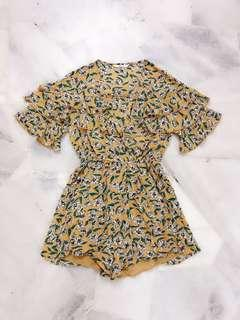 Yellow Floral Romper / Jumpsuit #Midsep50