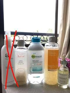 Micellar water, toner, face oil (harga di desc box)