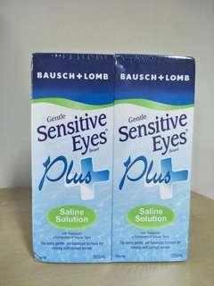 Bausch lomb sensitive eyes saline lens solution 2 pack made in USA
