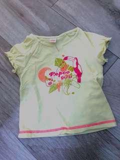 女童黃色短袖上衣T Shirt