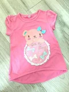 女童粉紅色短袖上衣