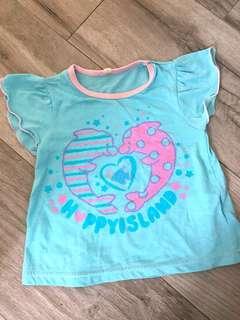 女童粉藍色海豚短袖上衣