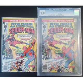 """Spectacular Spider-Man #1 & #1 CGC 9.0 (1976 1st Series)-Set of 2, 1ST Issue Collectibles! Art by Super-stars Sal Buscema & John Romita! Story by The Legendary Gerry Conway!!Super-Key Books! Awesome Web-Slinging Action!""""One To Read And One To Keep"""" Series"""