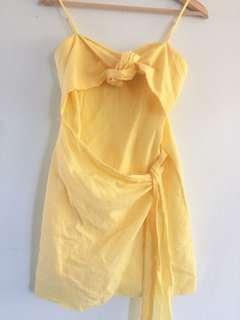 Yellow Tie Up Strappy Dress