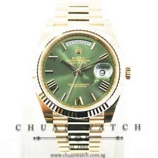 Brand New Rolex Day-Date 40 President Rose Gold 228235 Olive Green Roman