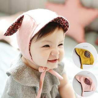 🚚 ✔️STOCK - SWEET PINK BUNNY EARS BABY GIRL KNITTED BEANIE HAT CHILDREN KIDS HEAD HAIR ACCESSORIES
