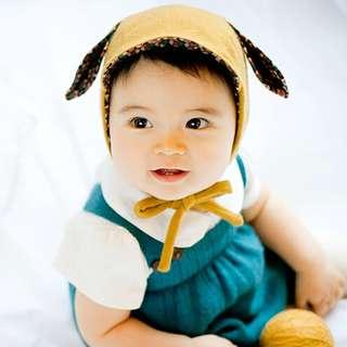 🚚 ✔️STOCK - YELLOW MUSTARD BUNNY EARS UNISEX BABY BOY/GIRL KNITTED BEANIE HAT CHILDREN KIDS HEAD HAIR ACCESSORIES