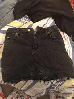 Topshop black moto denim skirt