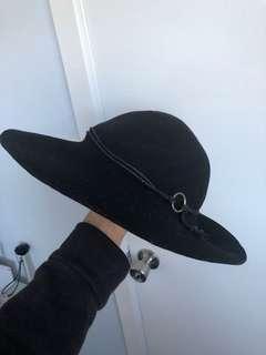 Floppy black felt hat
