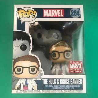 Funko Pop The Hulk and Bruce Banner Marvel Collector CORPS Exclusive 2-Pack