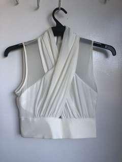 Bardot wrap mesh crop top