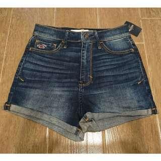 HOLLISTER NATURAL WAIST SHORTS 女裝深色高腰牛仔短褲
