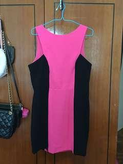 Forever New Pink and Black Sexy Back UK12 Dress