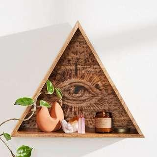 The All Seeing Wooden Triangle Wall Shelf mango wood display