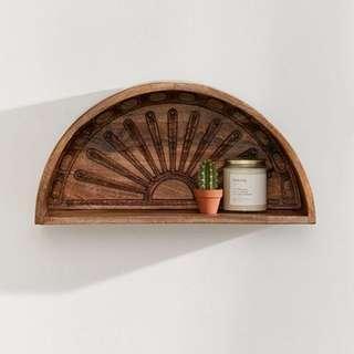 Here Comes the Sun Display Wall Wooden Mango Wood Shelf
