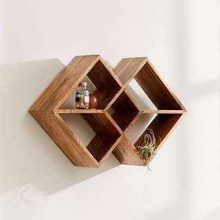 Stacks of Diamonds Wooden Mango Wood Wall Shelf