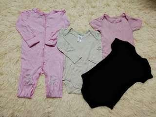 Baby girl sleepsuits and rompers set (9-18m) 6pcs