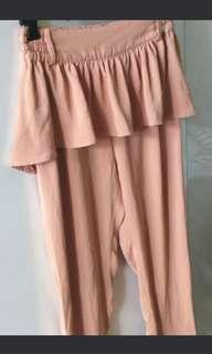 NICE CLAUP薄料森林系假兩件上班裙褲