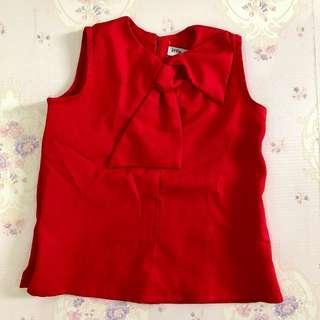 Preloved Red Ribbon Girl Top