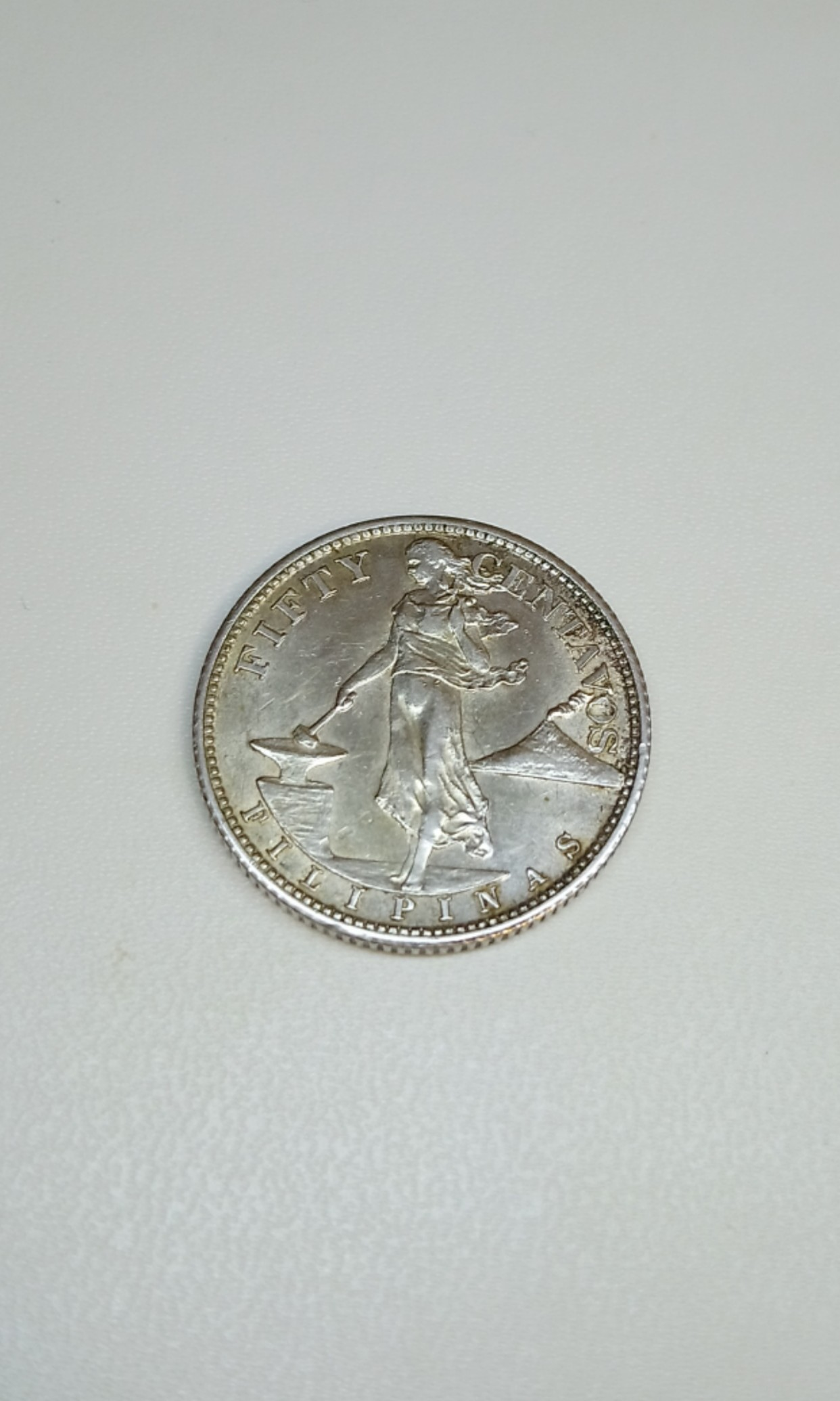 1944 Philippines 50 Centavos Coin Silver Content Near Uncirculated
